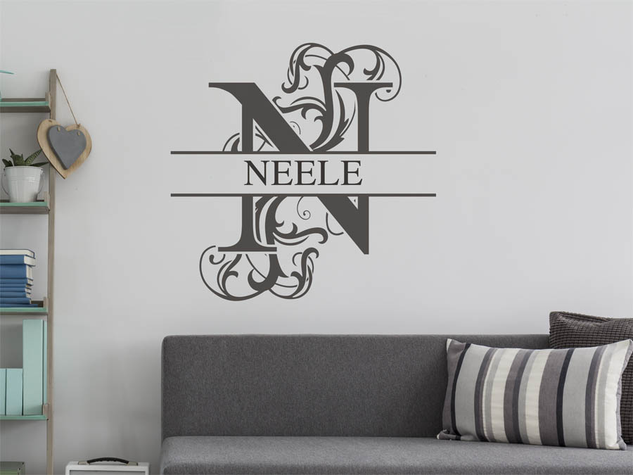 wandtattoo neele als namensschild monogramm oder. Black Bedroom Furniture Sets. Home Design Ideas
