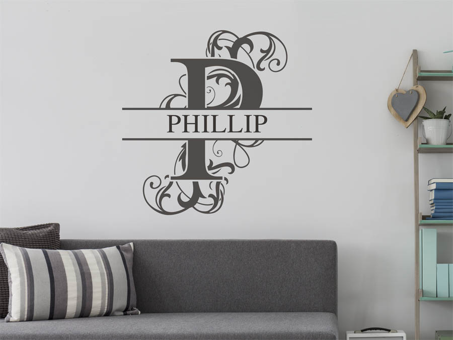 wandtattoo phillip als namensschild monogramm oder. Black Bedroom Furniture Sets. Home Design Ideas