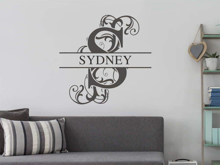 wandtattoo sydney als namensschild monogramm oder. Black Bedroom Furniture Sets. Home Design Ideas