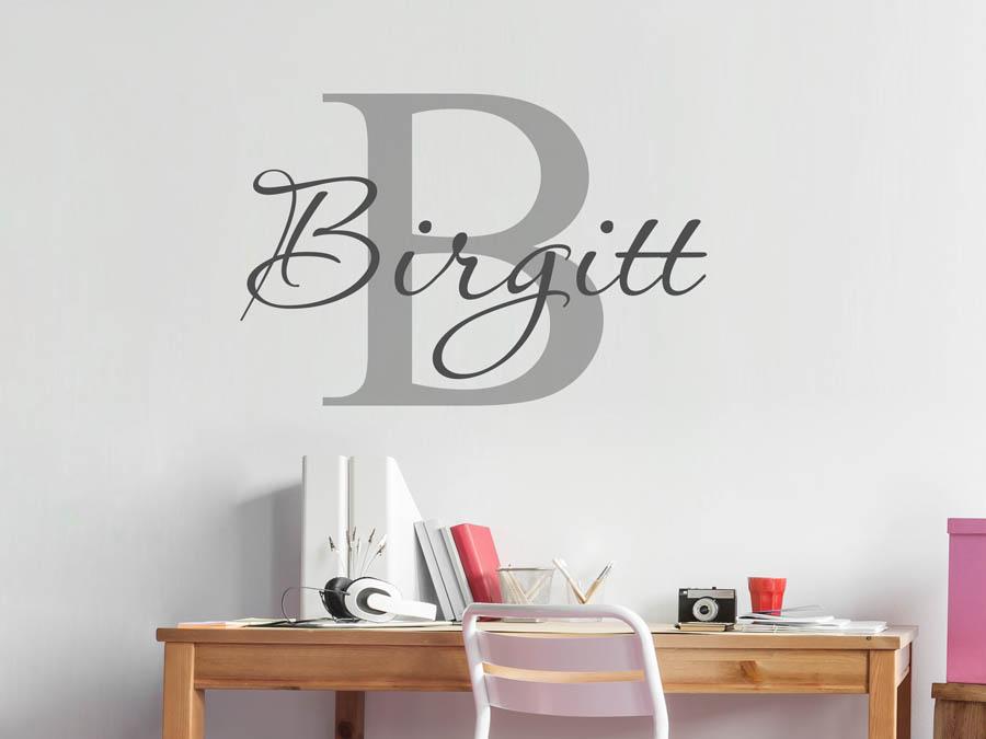 Wandtattoo Birgitt als Namensschild, Monogramm.