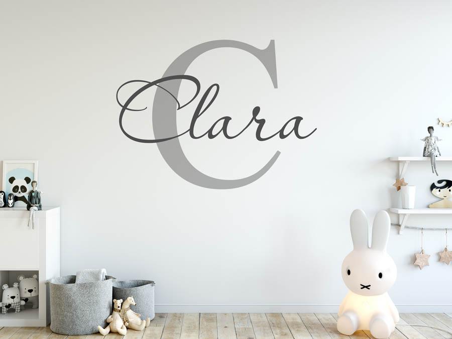 Wandtattoo clara vorname als namensschild monogramm for Kinderzimmer clara