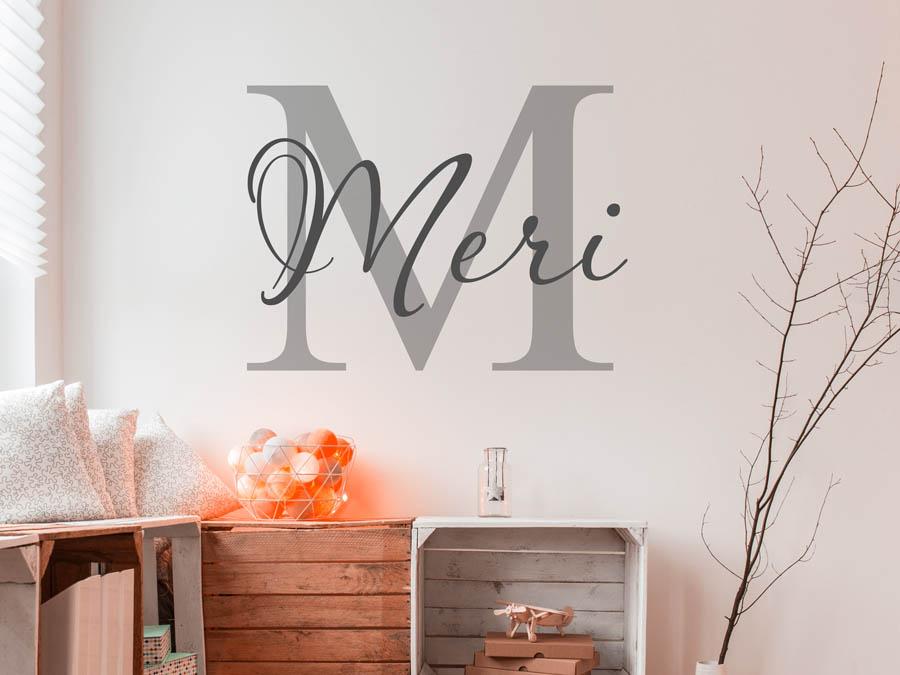 wandtattoo meri als namensschild monogramm oder verschn rkelte schrift. Black Bedroom Furniture Sets. Home Design Ideas