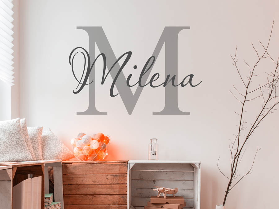 wandtattoo milena als namensschild monogramm oder. Black Bedroom Furniture Sets. Home Design Ideas