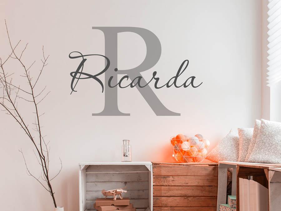 Wandtattoo Ricarda als Namensschild, Monogramm oder verschnörkelte ...