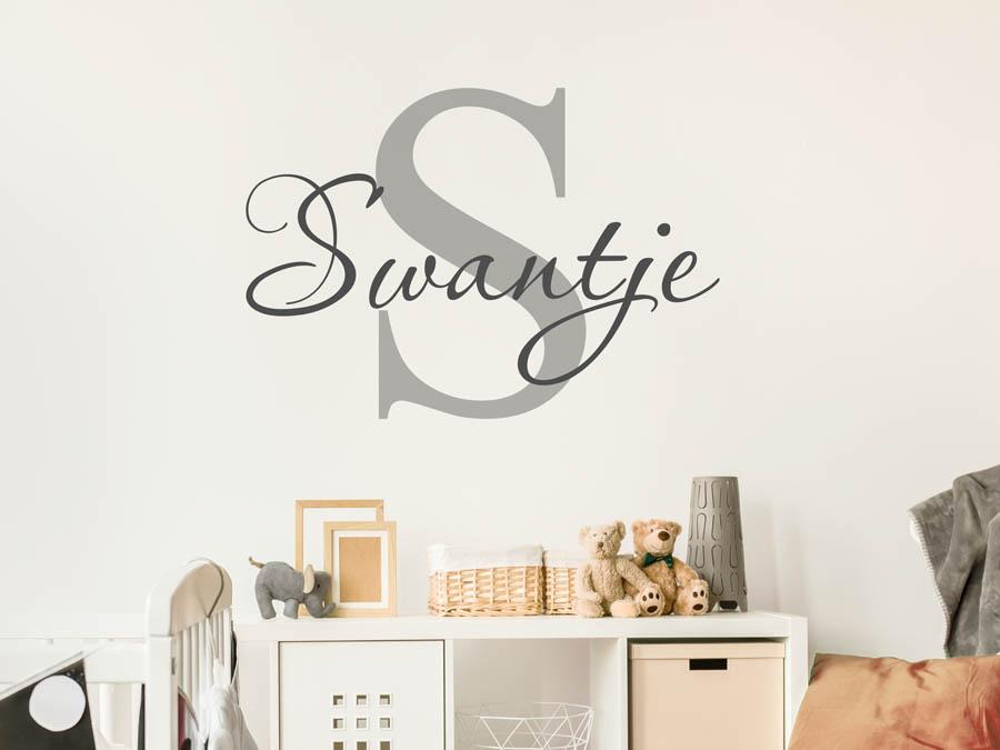 Wandtattoo Swantje als Namensschild, Monogramm.