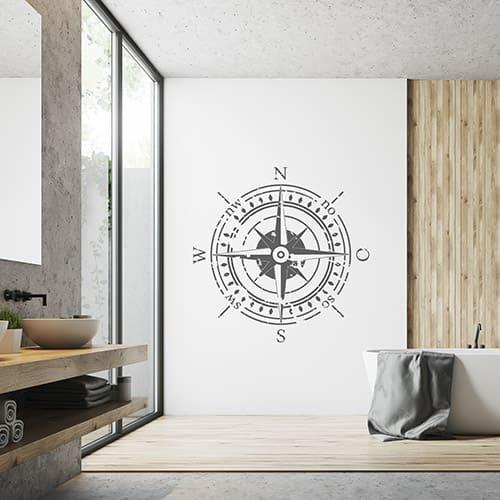 Wandtattoo Kompass im Badezimmer